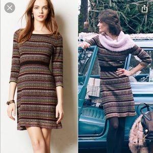 Anthropologie Nordic stripe print sweater dress